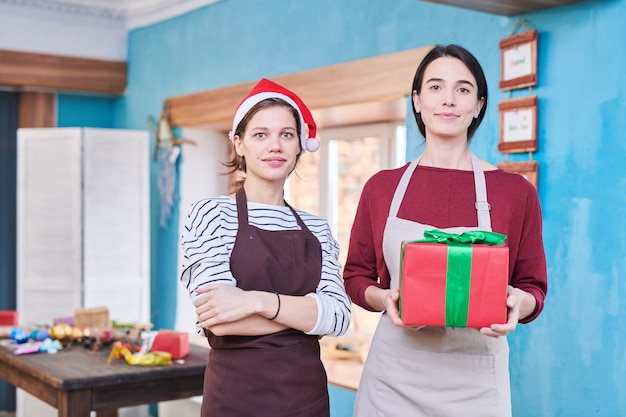 Dwie kobiety rzemieślników na boże narodzenie