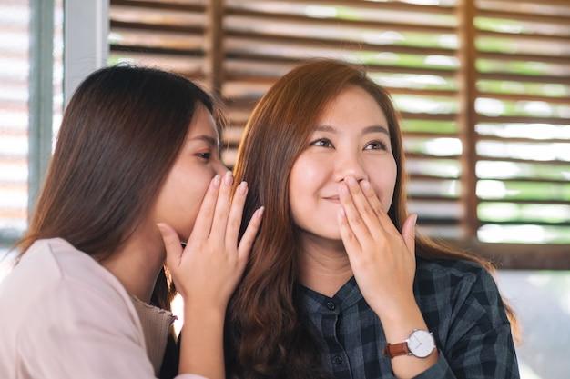 Dwie koleżanki mówią i plotkują sekret