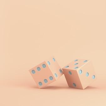Dwie kości na różowym pastelu z kopią miejsca. renderowanie 3d