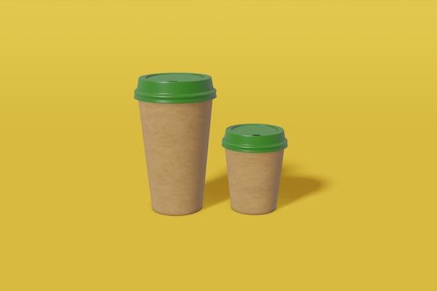 Dwie makietowe kubki papierowe w brązowym kolorze o różnych rozmiarach z zieloną pokrywką na żółtym tle. renderowanie 3d