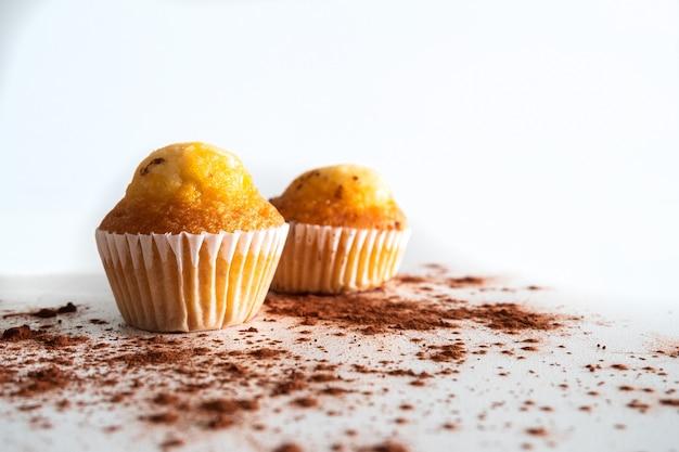 Dwie małe babeczki z kawałkami czekolady posypane kakao