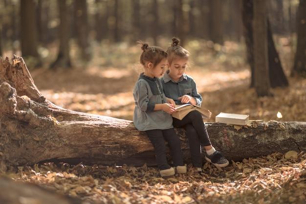 Dwie małe dziewczynki czytające książki w lesie.