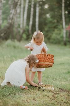 Dwie małe dziewczynki o zachodzie słońca z uroczymi kaczątkami. dwie małe dziewczynki bawiące się z kaczkami w parku