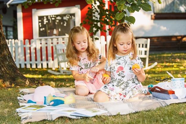 Dwie małe dziewczynki siedzi na zielonej trawie