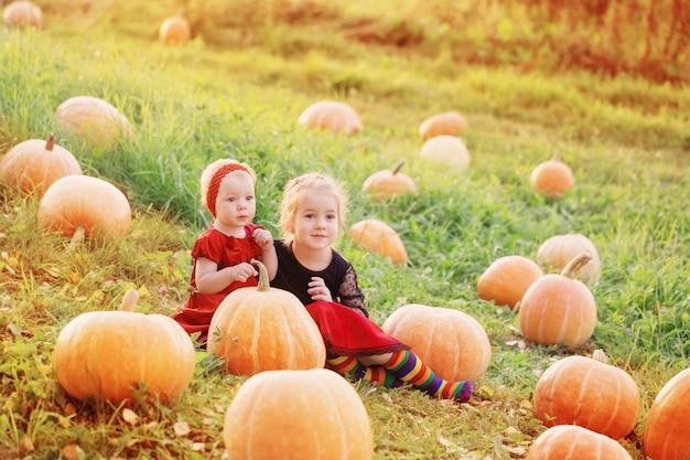 Dwie małe dziewczynki z pomarańczowymi dyniami o zachodzie słońca
