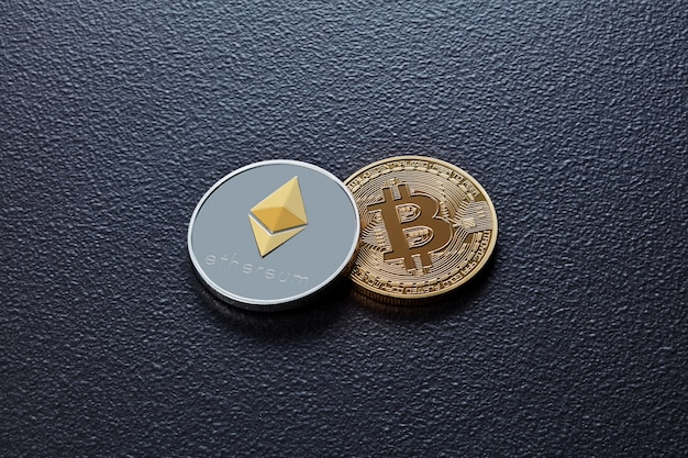 Dwie monety kryptowaluty eth, btc na czarnym betonowym tle. koncepcja biznesu, finansów i technologii.