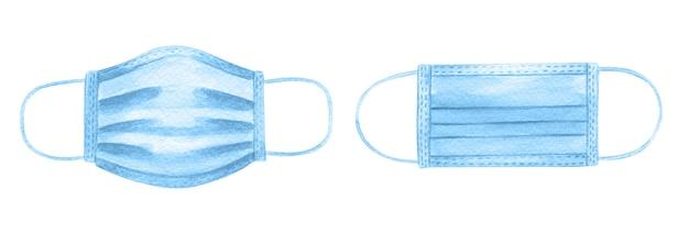 Dwie niebieskie ochronne medyczne maski na twarz akwarela ilustracja na białym tle.