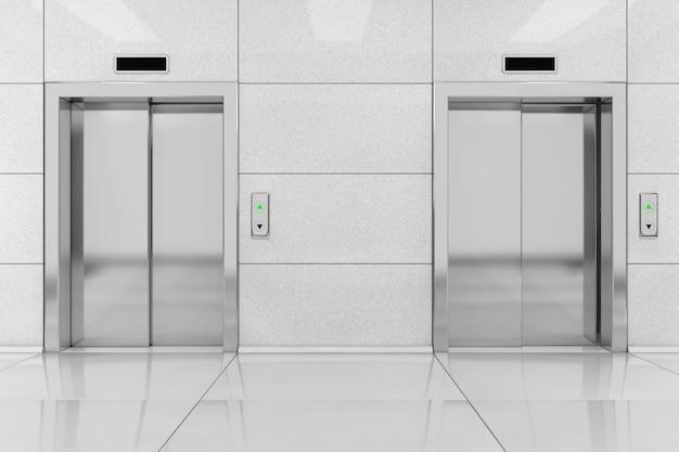 Dwie nowoczesne windy lub windy z metalowymi drzwiami w ekstremalnym zbliżeniu budynku biurowego. renderowanie 3d