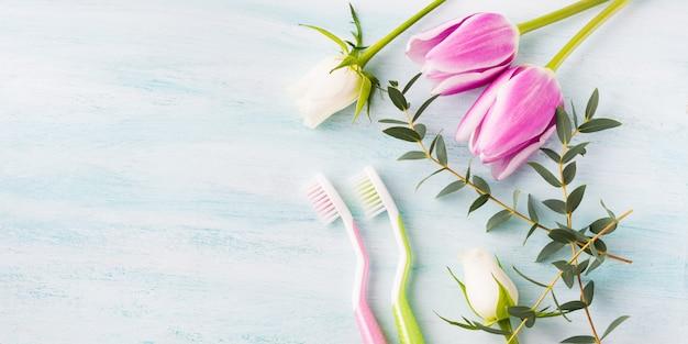 Dwie pastelowe szczoteczki do zębów z ziołami kwiatów