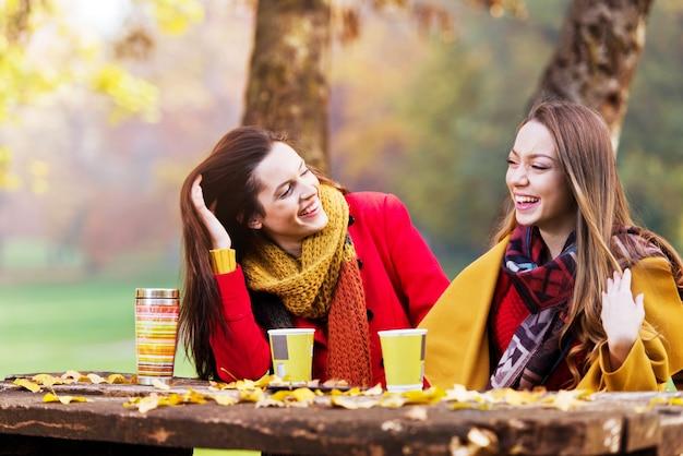 Dwie piękne młode kobiety rozmawiają i cieszą się w słoneczny jesienny dzień