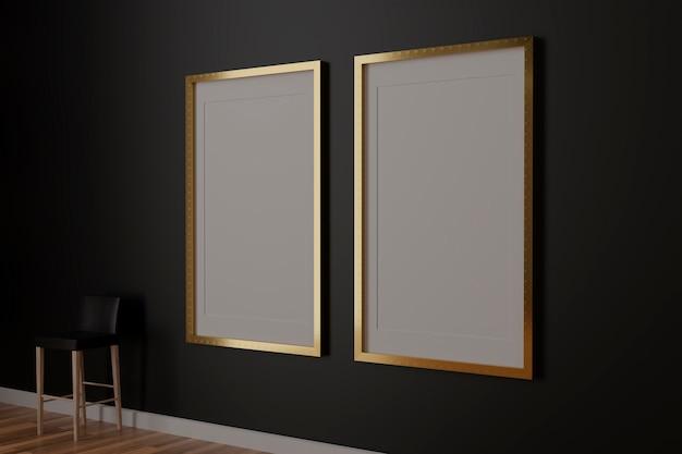Dwie pionowe białe ramki na czarnej ścianie