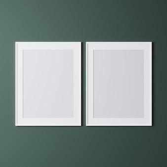 Dwie pionowe białe ramki na zielonej ścianie
