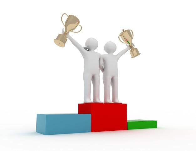 Dwie postacie 3d trzymające złote trofeum - koncepcja zwycięstwa zespołu. 3d renderowana ilustracja