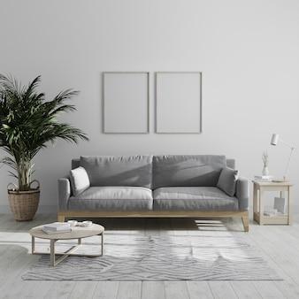 Dwie puste pionowe drewniane ramki na plakat przedstawiają nowoczesne minimalistyczne wnętrze salonu z szarą sofą i palmą