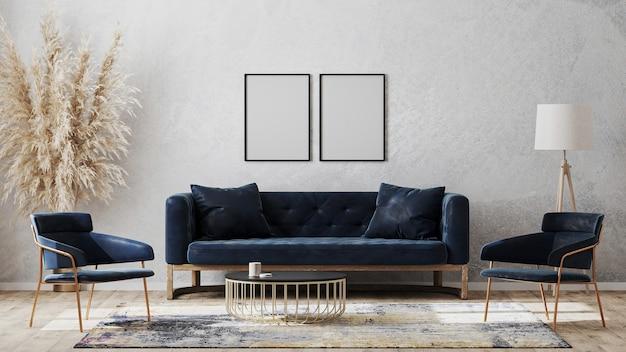 Dwie puste ramki plakatowe na makiecie szarej ściany w nowoczesnym luksusowym wystroju wnętrza z ciemnoniebieską sofą, fotelami przy stoliku kawowym, fantazyjnym dywanikiem na drewnianej podłodze, renderowanie 3d