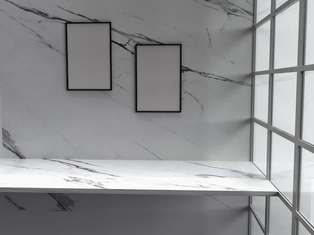 Dwie puste ramki wiszące na ścianie z marmuru