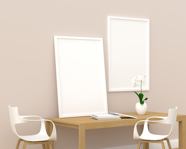 Dwie ramki do zdjęć w makiecie w nowoczesnym salonie, renderowania 3d, ilustracji 3d