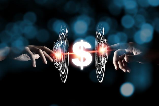 Dwie ręce dotykając przejść przez infografikę do znaku dolara usd z niebieskim bokeh i ciemności