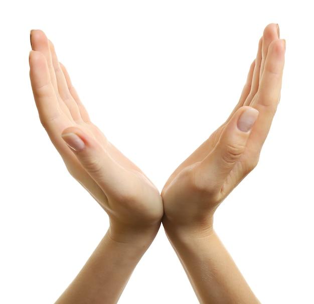 Dwie ręce, na białym tle