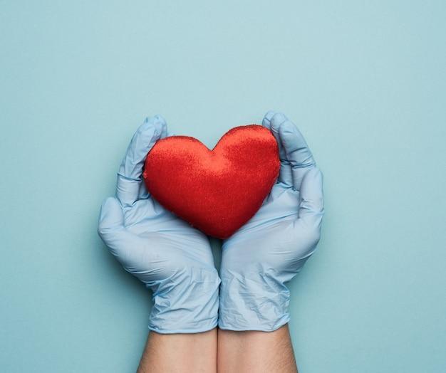 Dwie ręce w niebieskich rękawiczkach lateksowych, trzymając czerwone serce włókiennicze, koncepcja darowizny, z bliska
