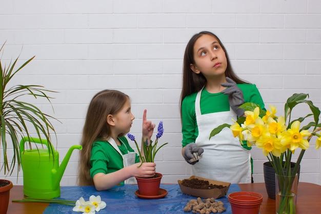 Dwie siostry dziewczynki przesadzają kwiaty, starsza dziewczyna myśli, że młodsza wskazuje palcem w górę