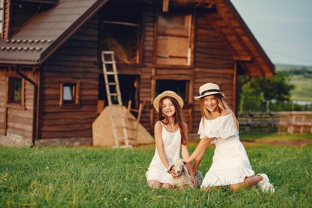 Dwie śliczne dziewczyny w polu z kozami