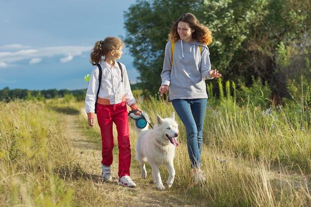 Dwie szczęśliwe dziewczyny spacerujące z psem, siostry z białym zwierzakiem husky na letniej łące