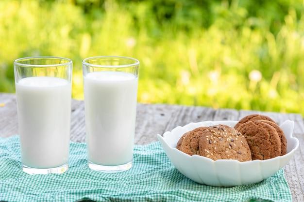 Dwie szklanki mleka i ciastko.