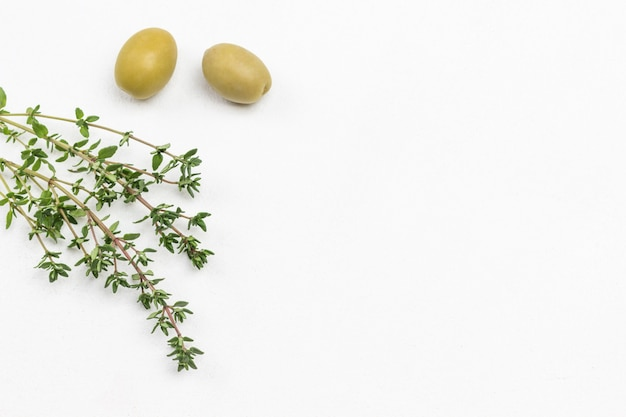 Dwie zielone oliwki i gałązki tymianku. leżał na płasko. skopiuj miejsce