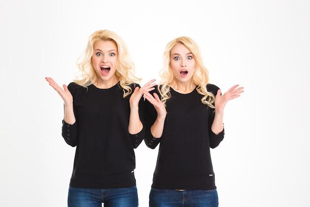Dwie zszokowane, zaskoczone blond, zabawne siostry bliźniaczki