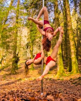 Dwóch akrobatów kaukaski tańczy taniec na rurze w lesie jesienią