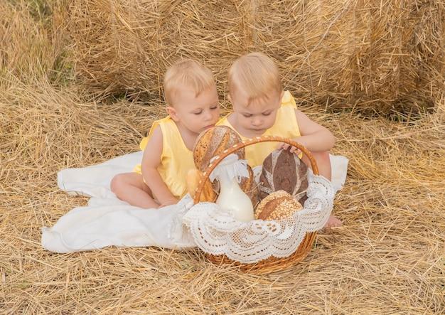 Dwóch bliźniaków z koszem chleba i mleka