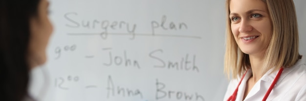 Dwóch lekarzy opracowuje plan operacji. planowanie dnia pracy w koncepcji szpitala