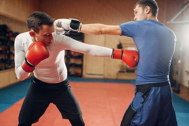 Dwóch mężczyzn kickboxerów ćwiczących na treningu w siłowni