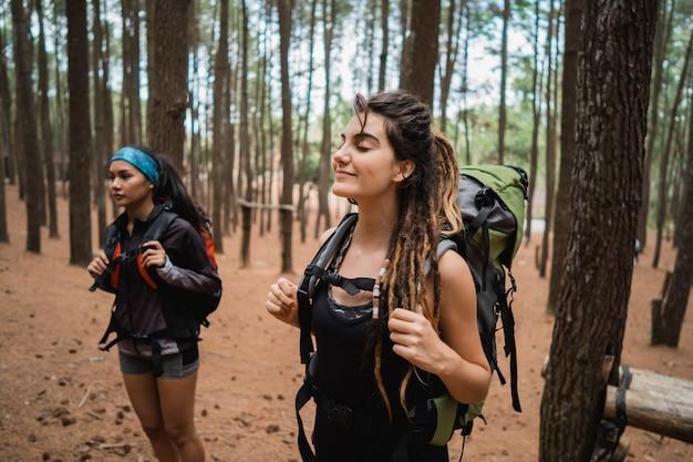 Dwóch młodych kobiet wycieczkowicz spaceru w pięknej przyrody