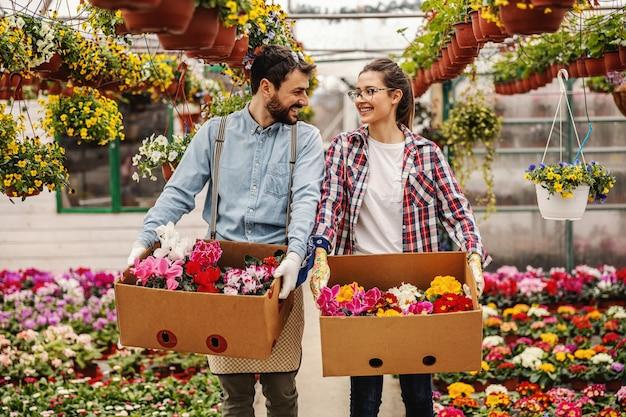 Dwóch młodych, pracowitych, szczęśliwych pracowników ogrodnictwa w przedszkolu trzymających pudełka z kwiatami, przenoszących je i rozmawiających.