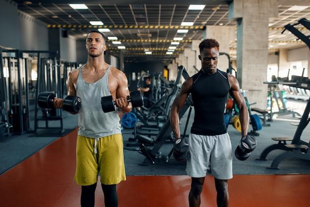 Dwóch muskularnych mężczyzn robi ćwiczenia z hantlami