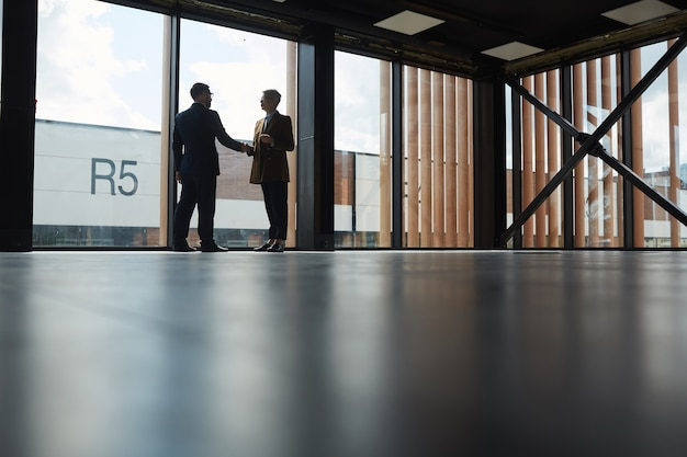 Dwóch partnerów biznesowych, ściskając ręce stojąc w dużym nowoczesnym biurowcu