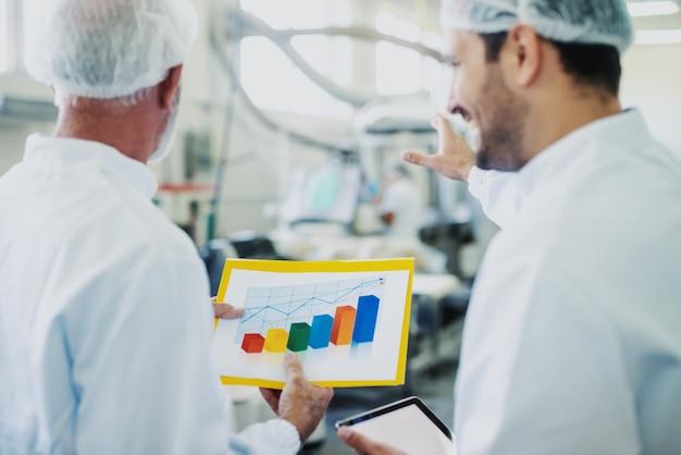 Dwóch partnerów biznesowych w sterylnym białym mundurze dyskutuje o wzroście sprzedaży produktów spożywczych. selektywne skupienie się na wykresie. wnętrze zakładu spożywczego.