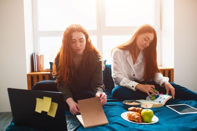 Dwóch rudowłosych studentów uczy się w domu lub przygotowuje się do egzaminów. młode kobiety odrabiania lekcji w łóżku w sypialni w pobliżu okna. są zeszyty, książki z jedzeniem, tablet i laptop oraz dokumenty