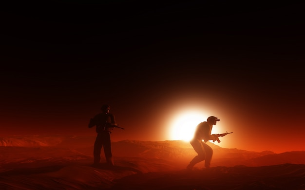 Dwóch żołnierzy w wojnie