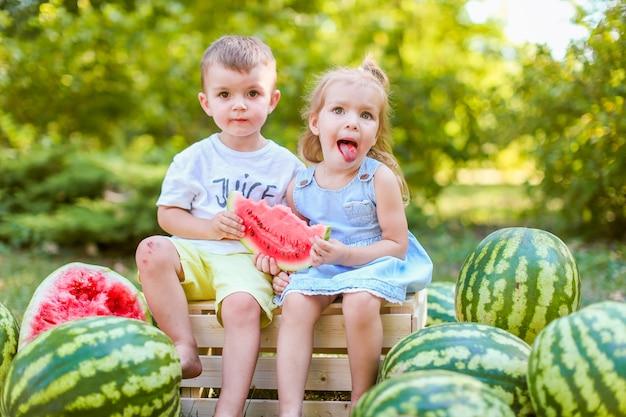 Dwoje dzieci siedzi między arbuzami w ogrodzie. dzieci jedzą owoce na zewnątrz. zdrowa przekąska dla dzieci.