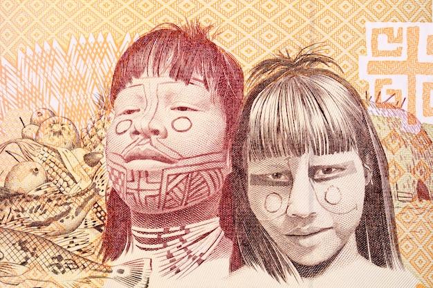 Dwoje indyjskich dzieci portret ze starych brazylijskich pieniędzy