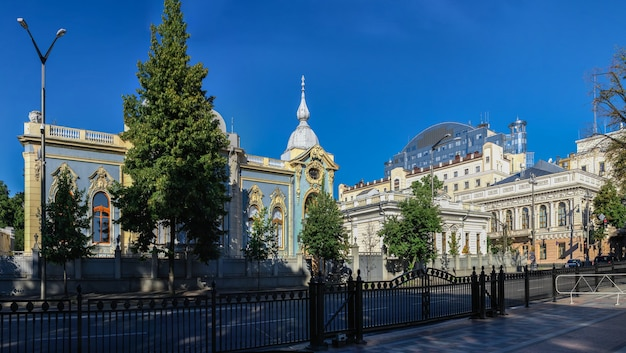 Dwór polyakov lub mały pałac maryjski w kijowie na ukrainie, w słoneczny letni poranek