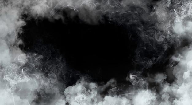 Dym ramki na czarnym tle