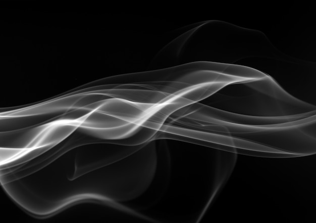 Dym z białego kadzidła na czarnym tle. koncepcja ciemności