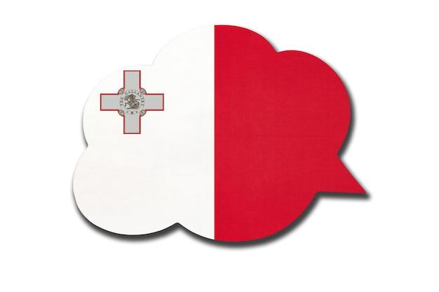 Dymek z flagą narodową malty na białym tle