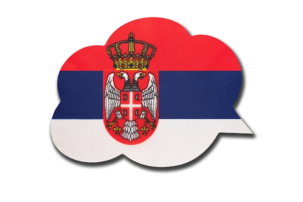 Dymek z flagą narodową serbii na białym tle