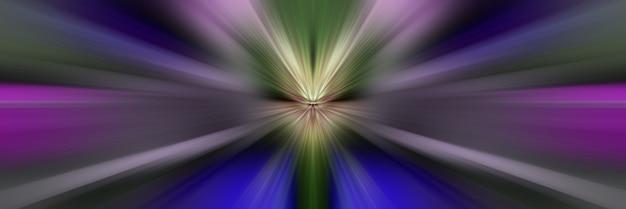 Dynamiczne wiązki światła fioletowego, niebieskiego i różowego. błysk w przestrzeni przechodzący w perspektywę.