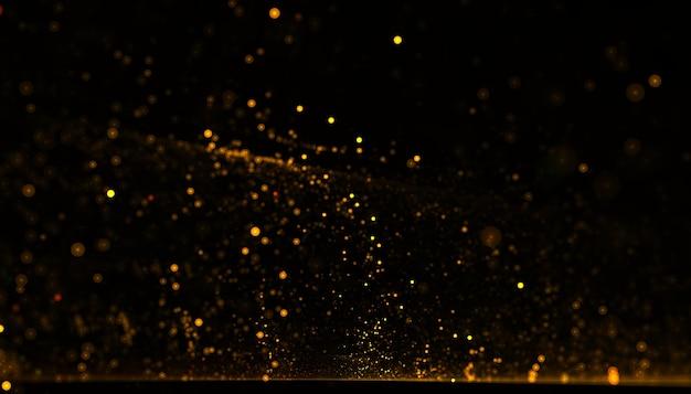 Dynamiczne złote cząstki płynące w tle pyłu